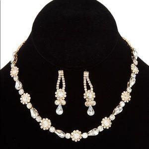 Crystal gem link choker necklace set